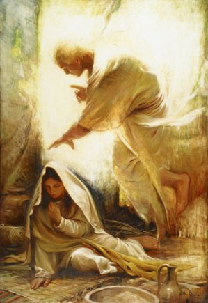 mary visited by the angel, gabriel