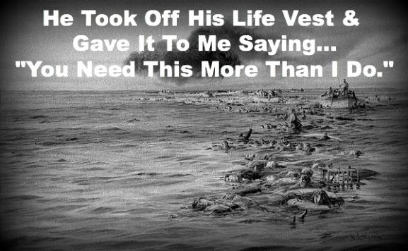 Sacrifice at sea, titanic, giving life vest