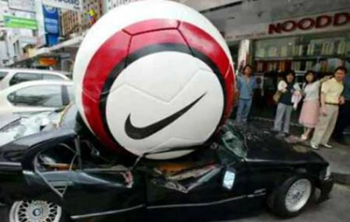 comfort & encouragement quote, crushed car, funny accident, nike football