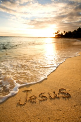 comfort & encouragement, jesus, written in the sand, beach jesus, writing in the sand