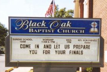 prepare for your finals, Funny Church sign