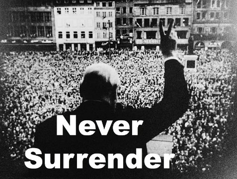 winston churchill quote, never surrender