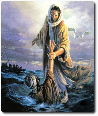 comfort & encouragement, Jesus saving peter, help in the storm, overcoming problems