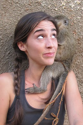 katie davis with monkey, mission africa