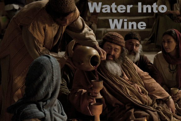 Jesus urning water into wine