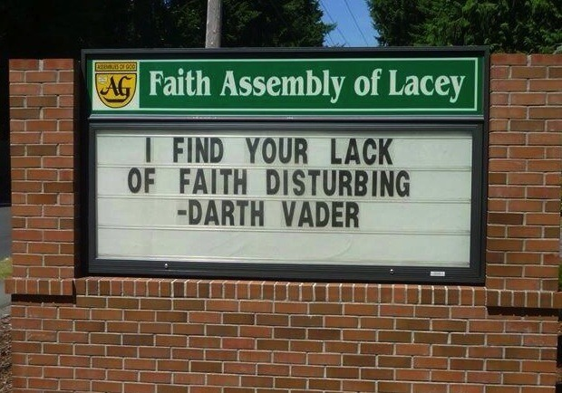 Funny Church Sign, Darth Vader Quote