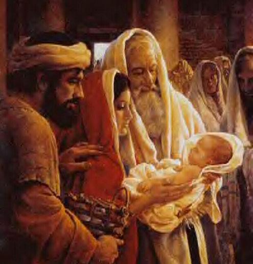 baby jesus, Mary, Joseph, Simeon