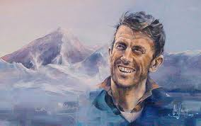 sir edmund hillary, painting, mount everest