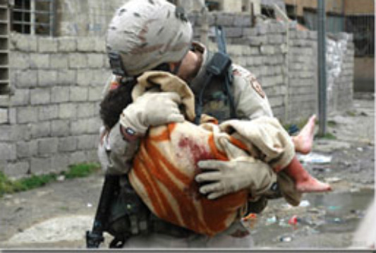 Helping Others, Soldier Saving Child, 1 Corinthians 13