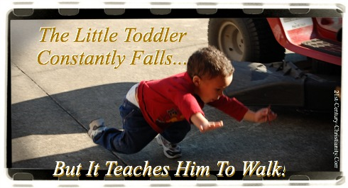 toddler learning to walk, falling down