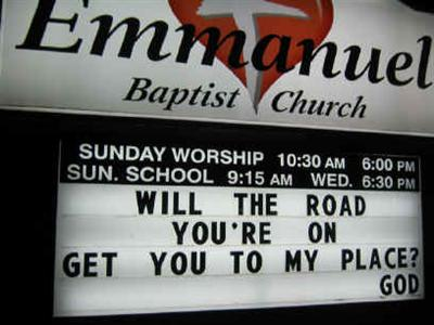 Funny Church sign, the road your on, christian GPS