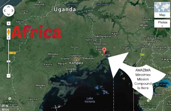 map, location, amazima mission, uganada, africa