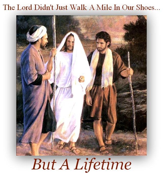 jesus with disciples, jesus walking