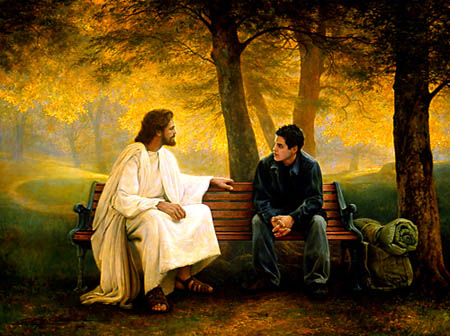 jesus is always there, jesus talking with teen boy, backpacker