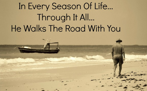 jesus walks with you quote, beach, old man, he's always with you quote