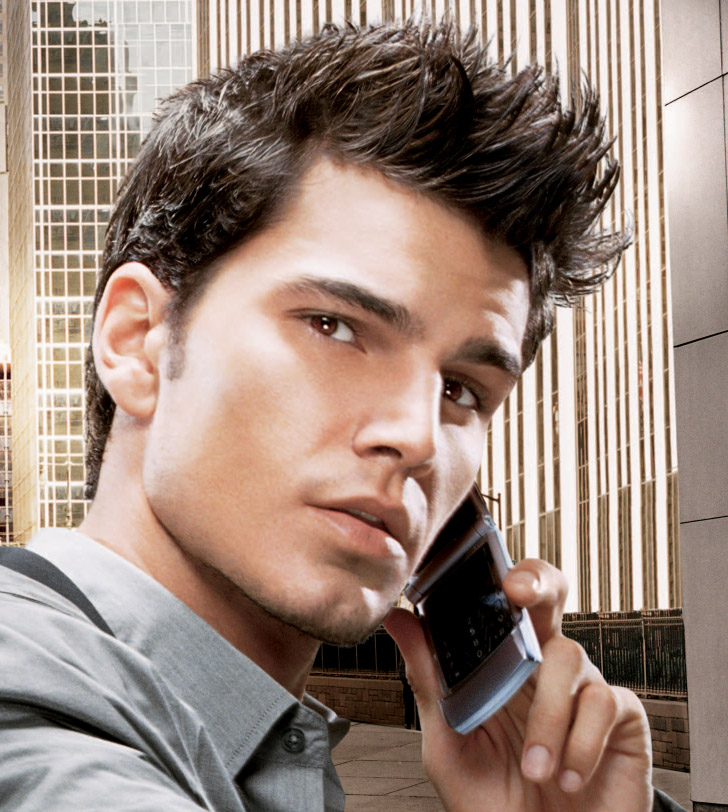cool guy on phone, talking on telephone