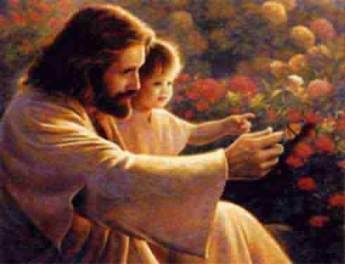 jesus and child, flower, holding a baby
