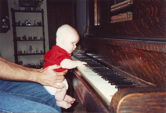 Patrick Henry Hughes, baby learning piano