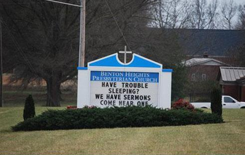 funny church sign, boring sleepy sermon, funny christian story