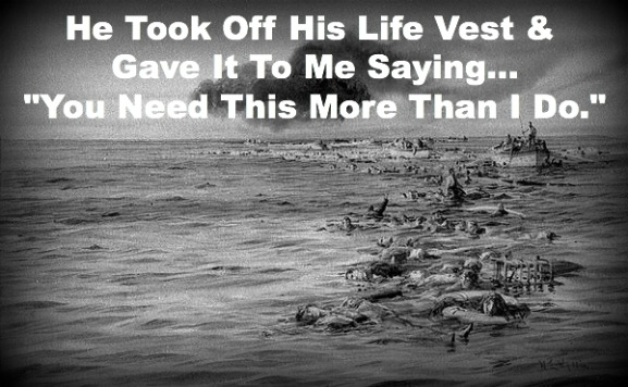 Sacrifice at sea, titanic, giving life vest