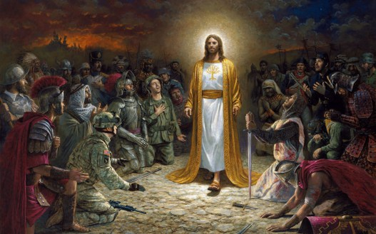 Jesus with soldiers