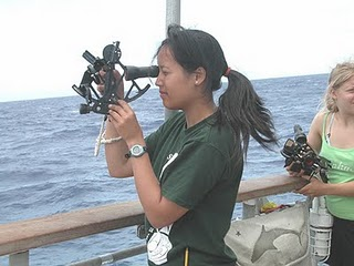 sextant. taking a reading, at sea