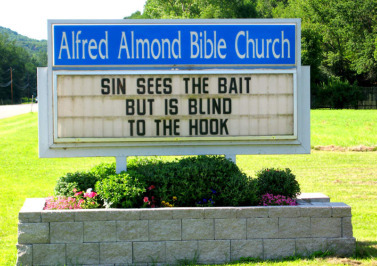 Funny Church sign sin sees the bait