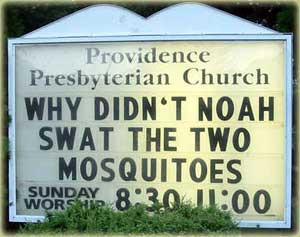 Funny Church sign Misquitoes