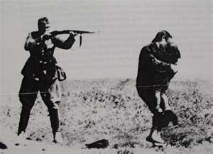 nazi killing mother and child, mother protecting child