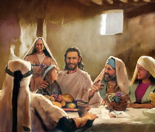 jesus eating, visiting, talking, guest