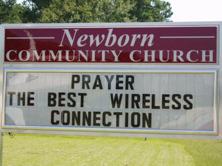 Funny Church sign prayer is the best wireless connection