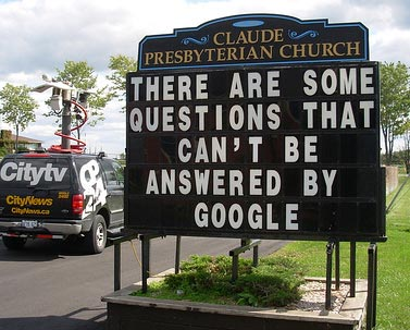 funny christian stories, pictures, church signs, google can't answer