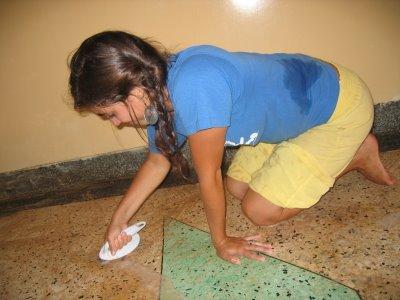 katie davis, cleaning the floor, uganda missionary