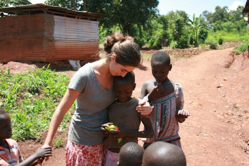 katie davis, walking with children, uganda