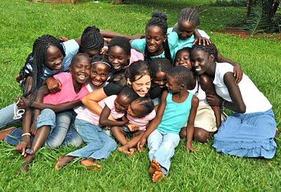 katie davis with children having fun