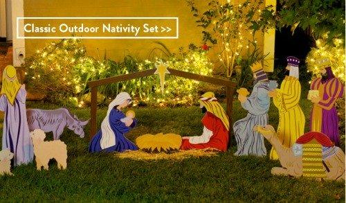 outdoor nativity set, manger scene