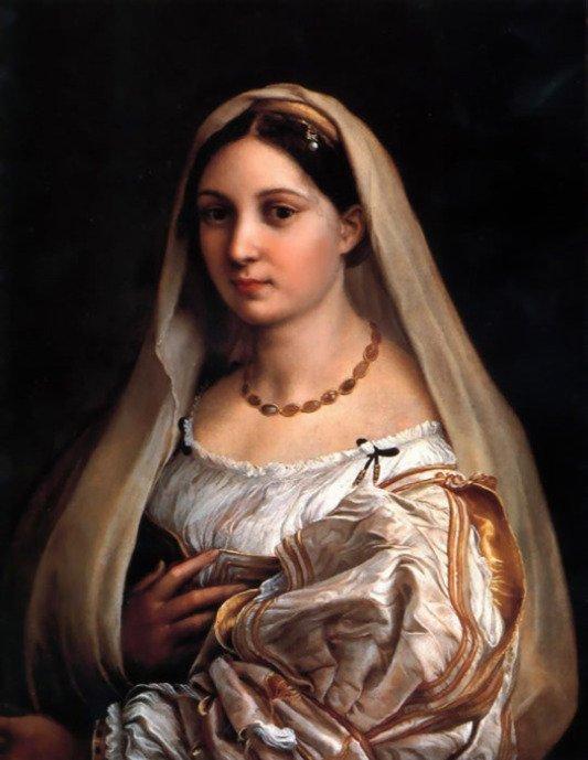 Raphaello Senzio, women with a veil, christian story
