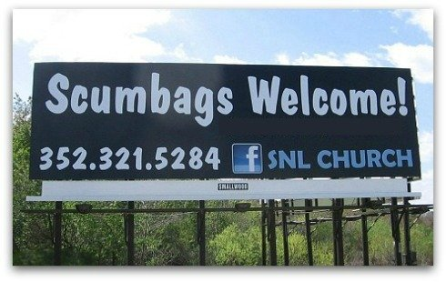 funny billboard, Scumbag