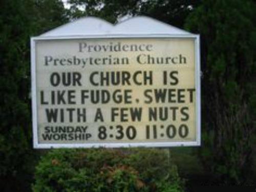 Funny Church Sign, Church Is Like Fudge