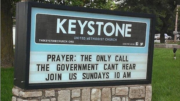 Funny Church Sign, Pray the government can't listen