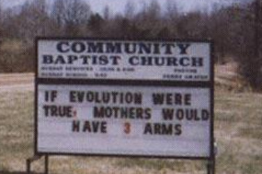 mothers three arms, Funny Church sign