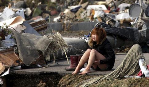Japan Tsunami, student crying in minami san riku