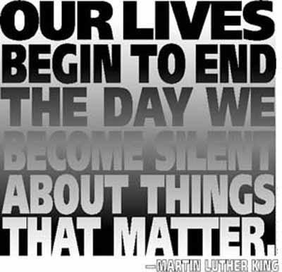 speak up, martin luther king quote, don't be silent