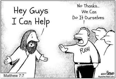 funny bible, Matthew 7:7, cartoon