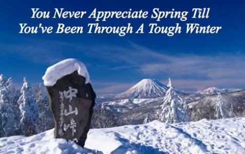 hope spring, winter japan, quote