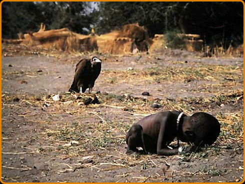 starvation, dying  baby with buzzard, africa