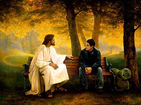 jesus is always there, jesus talking with teen boy, backpacker