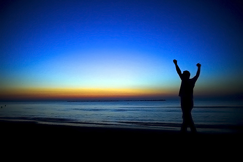 victory, hands up, sunset, sunrise, overcoming