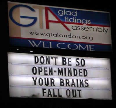 Funny Church sign, open minded