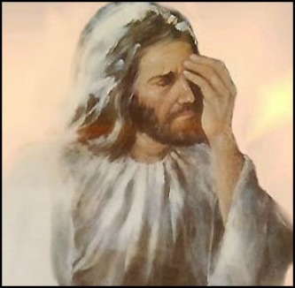sad Jesus, face palm, disappointed
